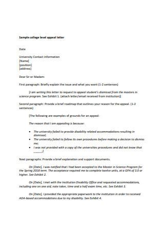 Sample college level appeal letter