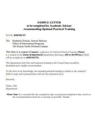 Sample practical Training Recommendation Letter