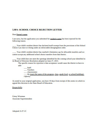 School Choice Rejection Letter