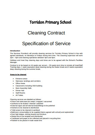 School Cleaning Contract Format