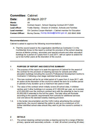 School Cleaning Contract
