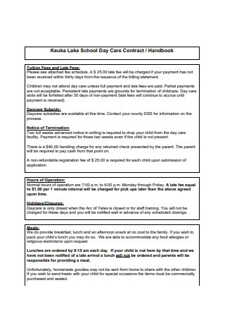 School Day Care Contract