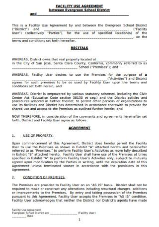 School Facility Use Agreement