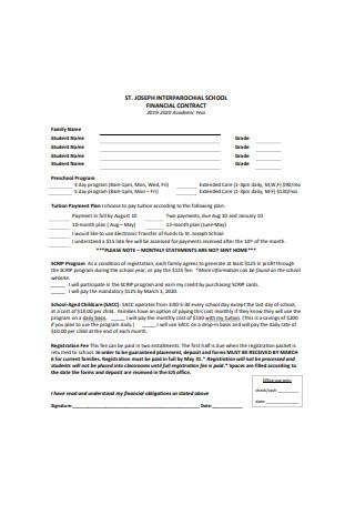 School Financial Contract
