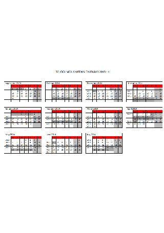 School Meals Weekly Calendar