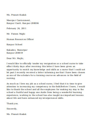 School Nurse Resignation Letter