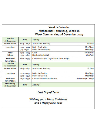 School Weekly Calendar