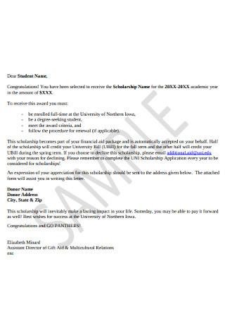 Scolorship Receive Congratulation Letter