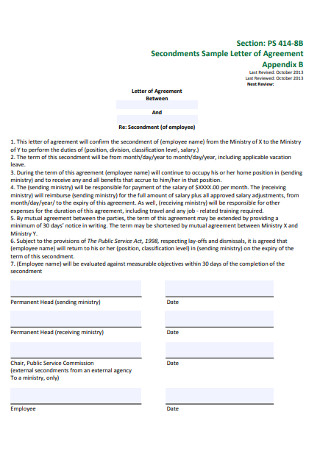 Secondments Sample Letter of Agreement
