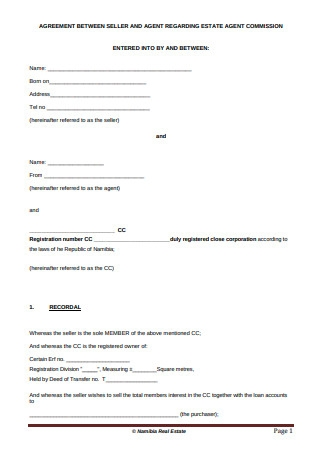 Seller and Agent Commission Agreement