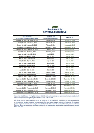 Semi Monthly Payroll Schedule Example