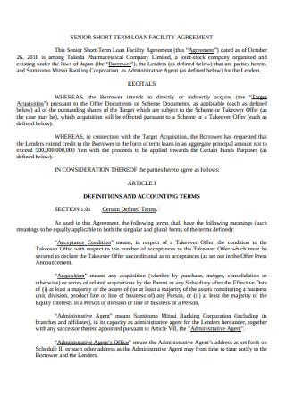 Senior Short Term Facility Agreement
