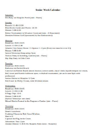 Senior Weekly Calendar