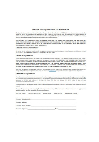 Service and Equipment Lease Agreement
