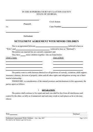 Settlement Agreement with Children