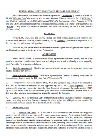 Settlement Termination Agreement