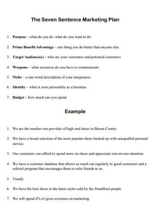 Seven Sentence Marketing Plan