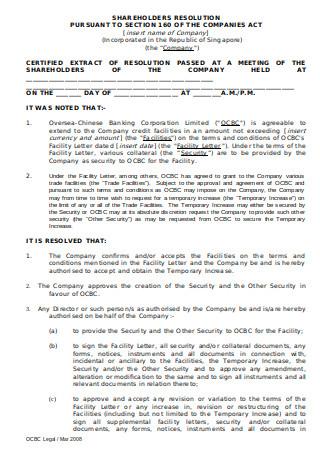 Shareholders Resolution Letter