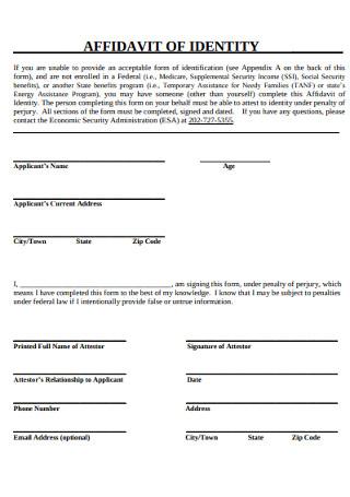 Simple Affidavit of Identify