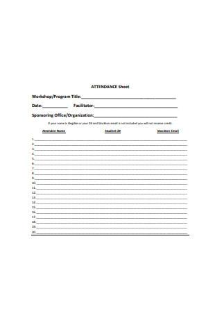 Simple Attendance Sheet Format