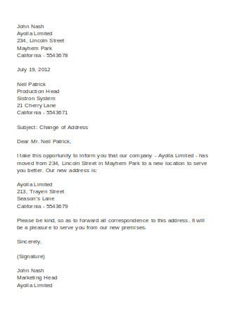 Simple Change of Address Letter