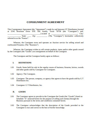 Simple Consignment Agreement