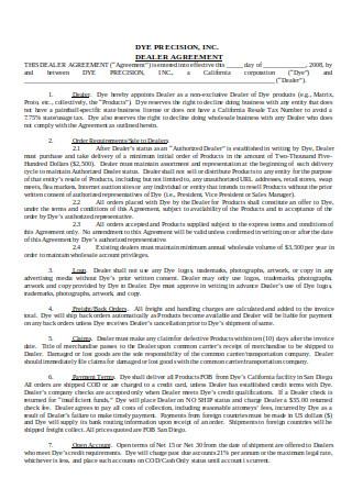 Simple Dealer Agreement Format