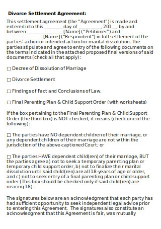 Simple Divorce Settlement Agreement