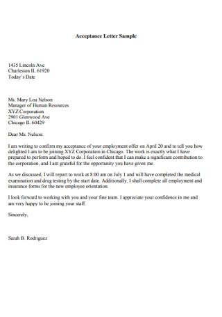 Simple Employement Job Acceptance Letter