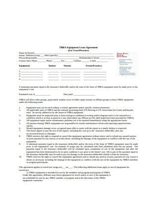 Simple Equipment Lease Agreement Example