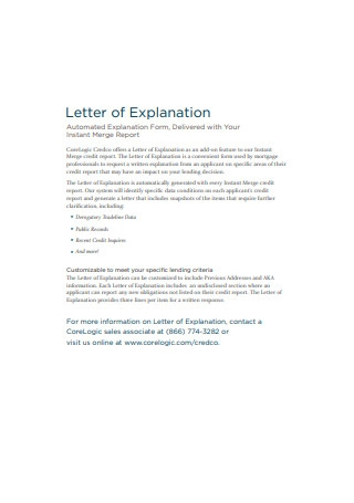 Simple Letter of Explanation