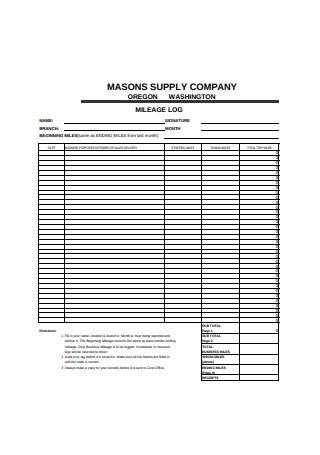 Simple Mileage Log Format