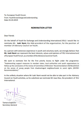 Simple Nomination Letter