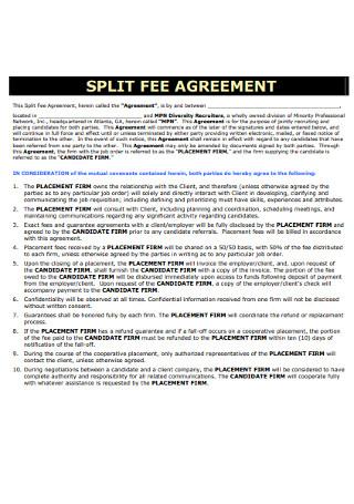 Simple Split Fee Agreement