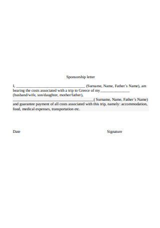 Simple Sponsorship Letter