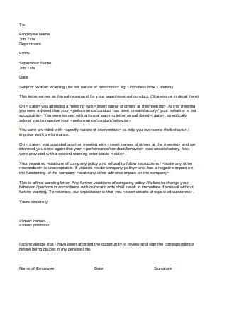 Simple Written Warning Letter