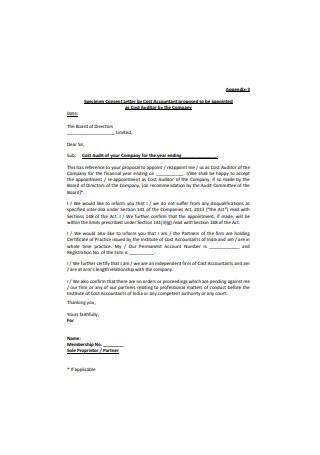 Specimen Consent Letter
