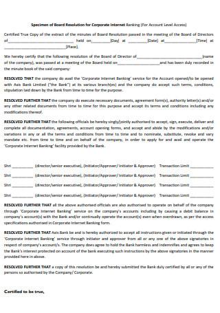 Specimen of Board Resolution for Banking