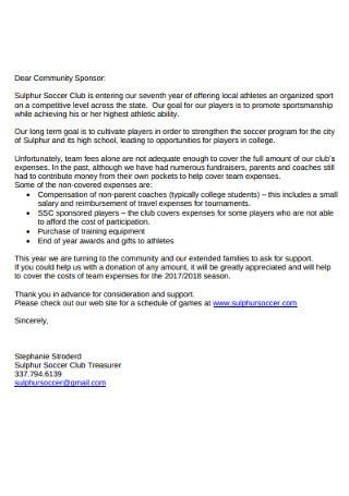 Sponsor Donation Letter
