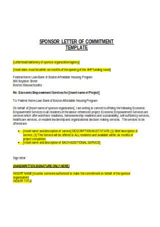 Sponsor Letter of Commitment