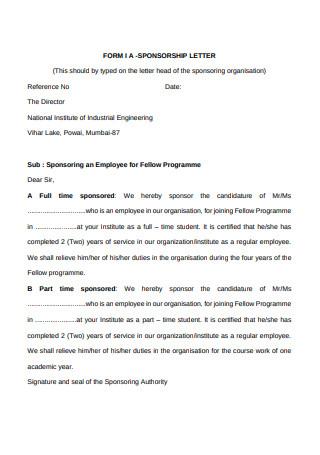 Sponsorship Letter Form