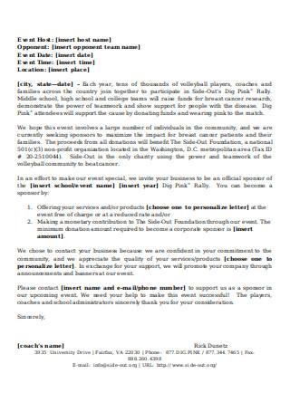 Sponsorship Letter Sample