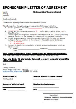 Sponsorship Letter of Agreement