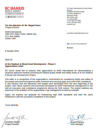 Stadium Development Appreciation Letter