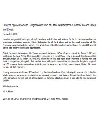 Staff Members Congratulations Letter