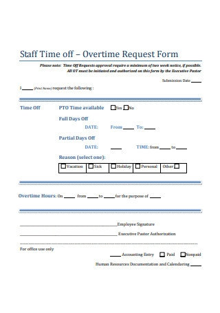 Staff Time off Overtime Request Form