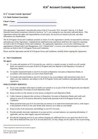 Standard Account Custody Agreement