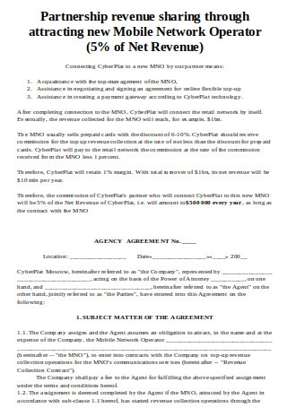 Standard Agency Agreement