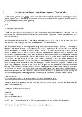 Standard Appeal Letter