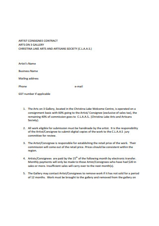 Standard Artist Contract Example